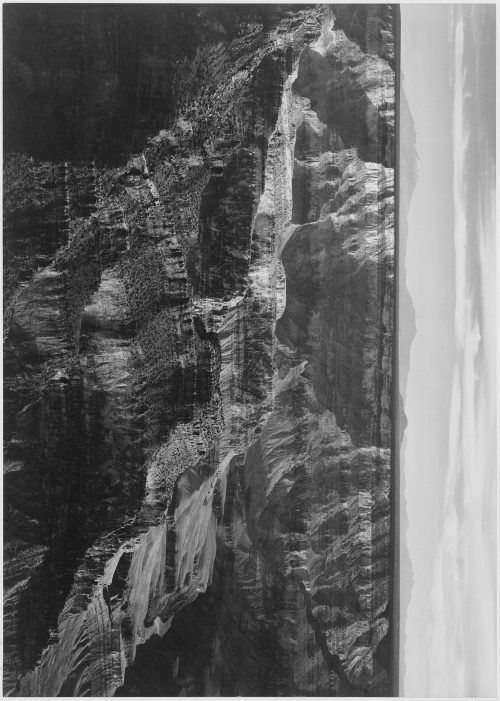 "Ansel Adams: Broad view with detail of canyon, horizon, and mountains above, ""Grand Canyon National Park,"" Arizona"