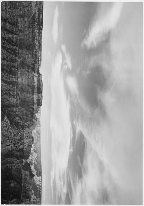 "Ansel Adams: Canyon edge, low horizon, clouded sky, ""Grand Canyon National Park,"" Arizona"