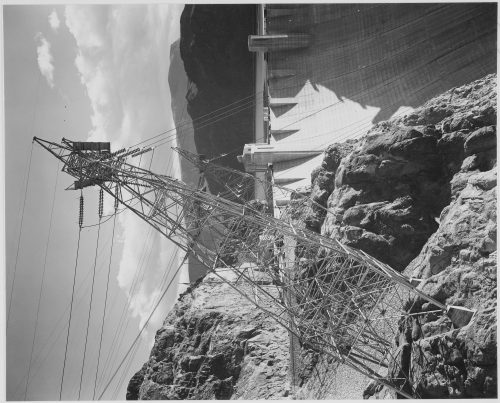Ansel Adams: Close-Up Photograph of Boulder Dam Transmission Lines on Side of Cliff
