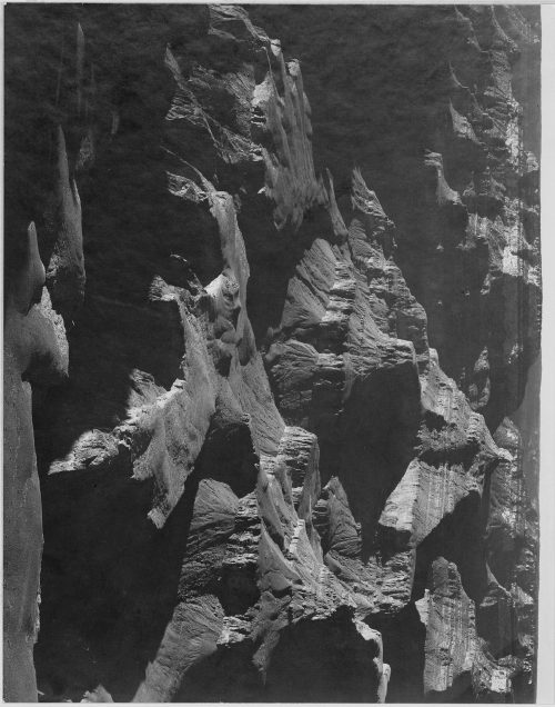 "Ansel Adams: Close in view, looking down toward peak formations, ""Grand Canyon National Park,"" Arizona"