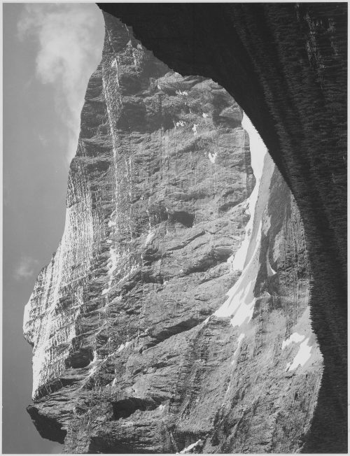 "Ansel Adams: Close in view of mountain side, ""From Going-to-the-Sun Chalet, Glacier National Park,"" Montana"