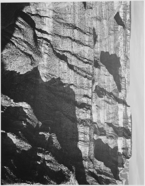 "Ansel Adams: Closer view of cliff formation, ""Grand Canyon from North Rim, 1941,"" Arizona"