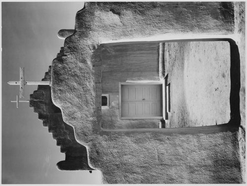 "Ansel Adams: Front View of Entrance, ""Church, Taos Pueblo National Historic Landmark, New Mexico, 1942"" [Misión de San Gerónimo] (Vertical Orientation)"