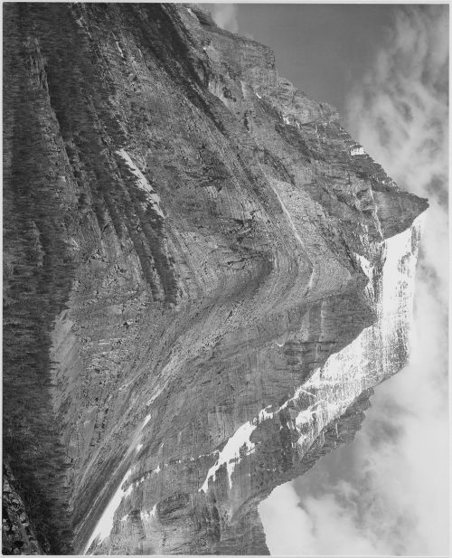 "Ansel Adams: Full view of mountain, ""Going-to-the-Sun Mountain, Glacier National Park,"" Montana"