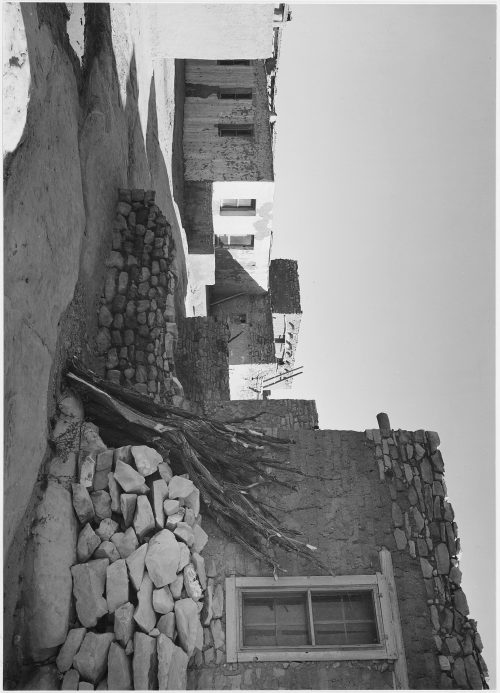 "Ansel Adams: Looking across Street toward Houses, ""Acoma Pueblo [National Historic Landmark, New Mexico]"""