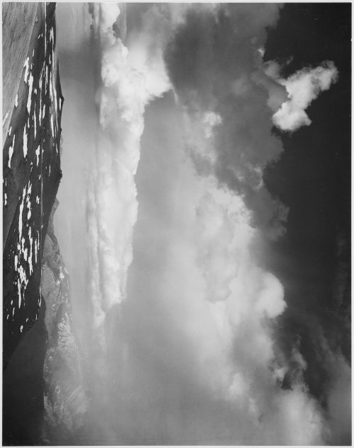 "Ansel Adams: Mountain tops, low horizon, dramatic clouded sky, ""In Rocky Mountain National Park,"" Colorado"