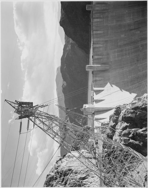 Ansel Adams: Photograph Looking Over the Top of the Boulder Dam