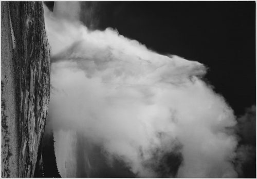 Ansel Adams: Photograph of Old Faithful Geyser Erupting in Yellowstone National Park