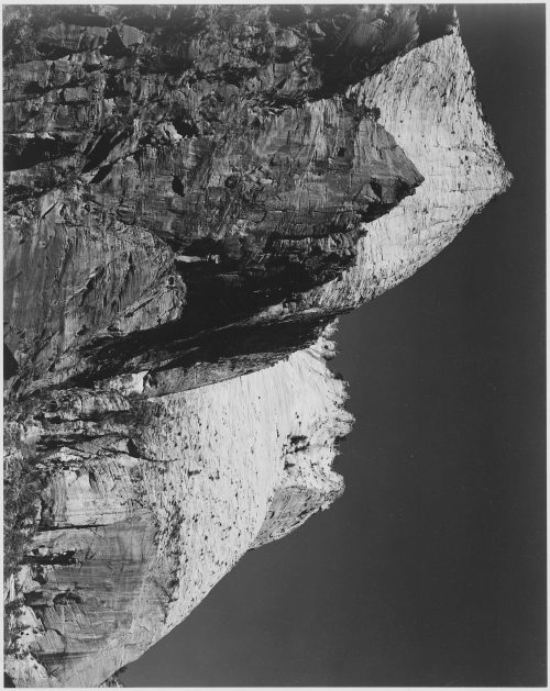 "Ansel Adams: Rock formation against dark sky, ""Zion National Park, 1941,"" Utah"