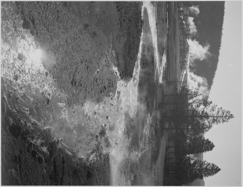 "Ansel Adams: Stream winding back toward geyser, ""Central Geyser Basin, Yellowstone National Park,"" Wyoming"