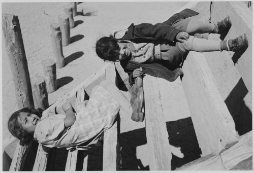 "Ansel Adams: ""Two Young Tewa Girls sitting on Steps, At San Ildefonso Pueblo, New Mexico, 1942"""