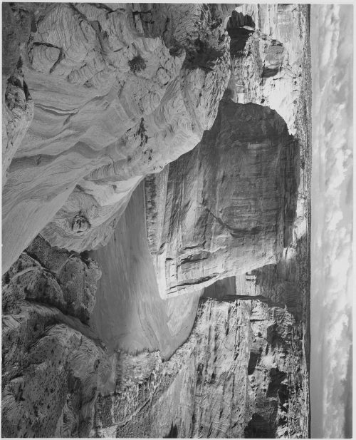 "Ansel Adams: View of valley from mountain, ""Canyon de Chelly"" National Monument, Arizona"