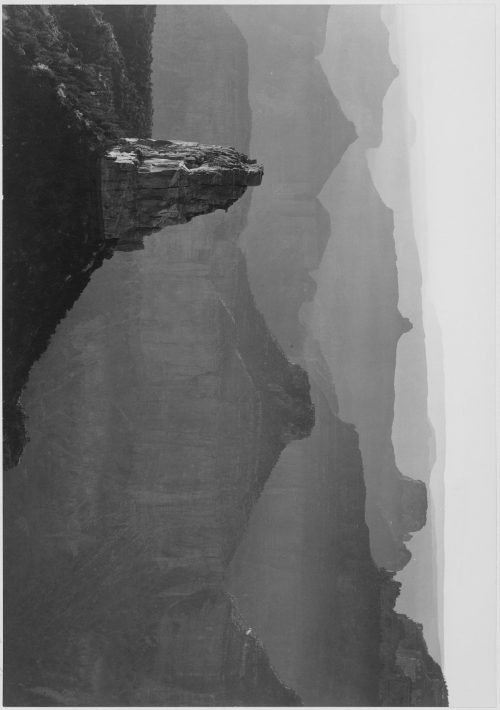 "Ansel Adams: View with rock formation in foreground, ""Grand Canyon National Park,"" Arizona"