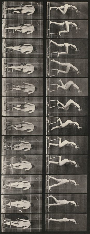 Eadweard Muybridge: Plate Number 180. Stepping on and over a chair, 1887