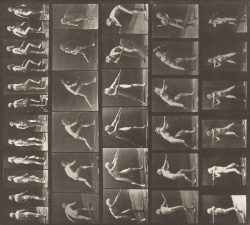 Eadweard Muybridge: Plate Number 521. A, walking; B, ascending step; C, throwing disk; D, using shovel; E, using pick; F, using pick, 1887