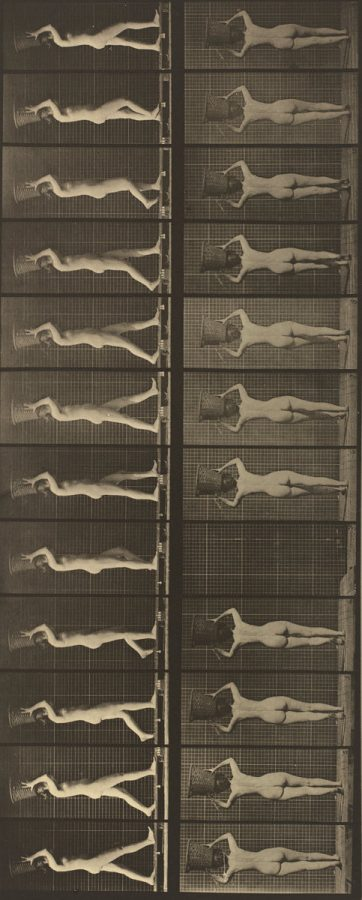 Eadweard Muybridge, Walking and Carrying a 15-lb. Basket on Head, Hands Raised, c. 1887