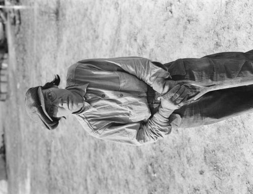 """Dorothea Lange: Calipatria (vicinity), California. Native of Indiana in a migratory labor contractor's camp. """"It's root hog or die for us folks"""""""
