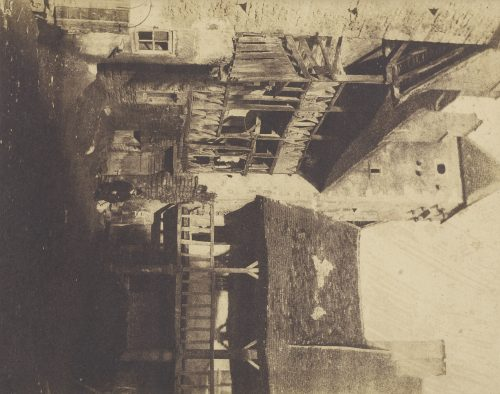 Charles Marville / Louis Désiré Blanquart-Evrard: [Courtyard with Houses], 1853